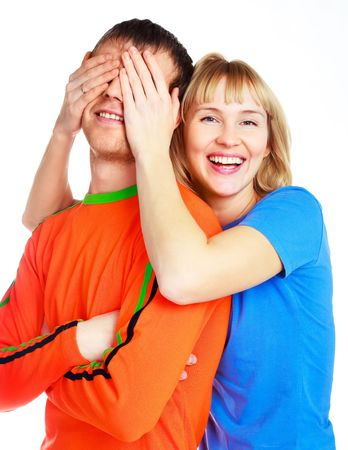 happy young couple, young beautiful woman closing eyes to her boyfriend photo