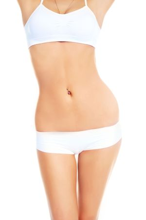 femme en sous vetements: belle corps mince d'une femme contre un fond blanc