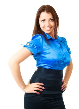 white blouse: beautiful young happy businesswoman against white background