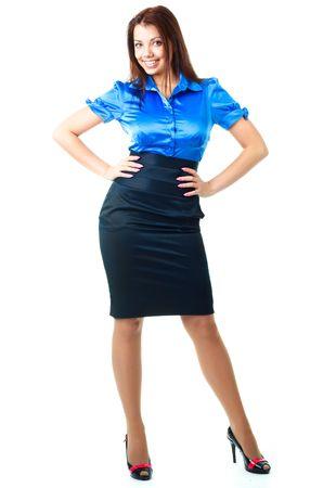 faldas: hermosa joven empresaria feliz sobre fondo blanco