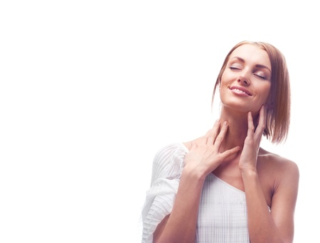 beautiful happy young woman touching her face Stock Photo - 9155278