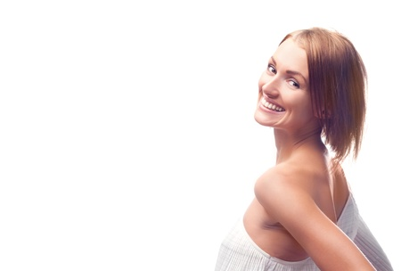 beautiful happy young woman, isolated against white Stock Photo - 9155272