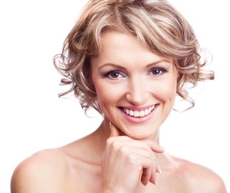 pretty young blond woman with curly hair, isolated against white