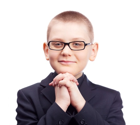ten year old blond boy wearing a costume, isolated against white Stock Photo - 9294866