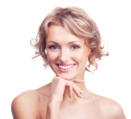 european expression face: beautiful young blond woman with curly hair, isolated against white