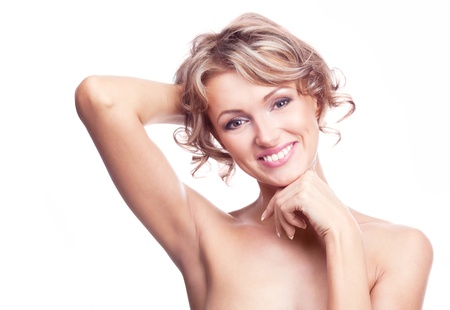 underarms: beautiful young blond, isolated against white