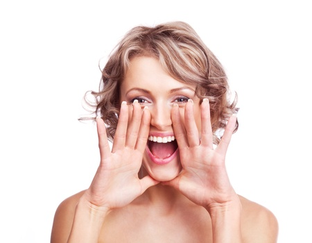 woman screaming: excited shouting young woman, isolated against white