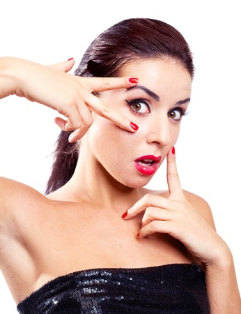 beautiful sexy young model with red lips and manicure, isolated against white background Stock Photo - 9446811