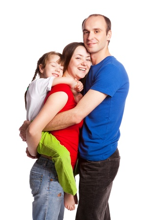 happy young family; mother, father and their daughter isolated against white background Stock Photo - 9613659