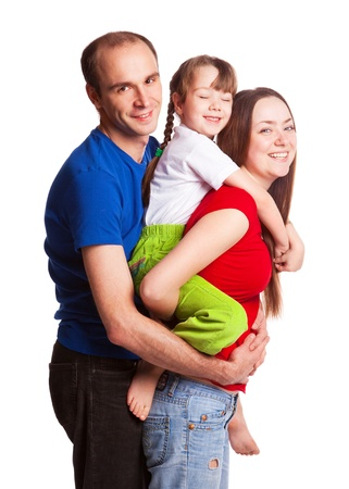 happy young family; mother, father and their daughter isolated against white background Stock Photo - 9613689