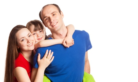 happy young family; mother, father and their daughter isolated against white background, copy space for your text to the right Stock Photo - 9613672
