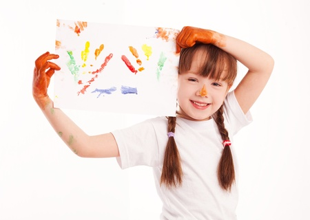 cute five year old girl with a watercolor picture in her hands Stock Photo - 9613782