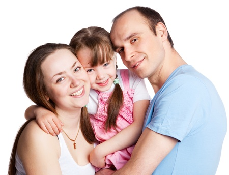 happy young family; mother, father and their daughter isolated against white background Stock Photo - 9617679