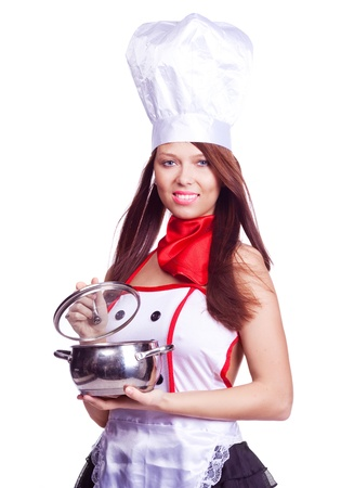 sexy brunette cook wearing uniform and holding a  pot, isolated against white background Stock Photo - 9756848