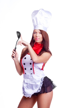 sexy brunette cook wearing unform and holding a  pot, isolated against white background Stock Photo - 9756867