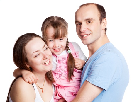 happy young family; mother, father and their daughter isolated against white background (focus on the woman) Stock Photo - 9757105