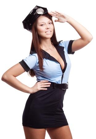 mujer policia: joven polic�a sexy, aislado contra el fondo blanco Foto de archivo