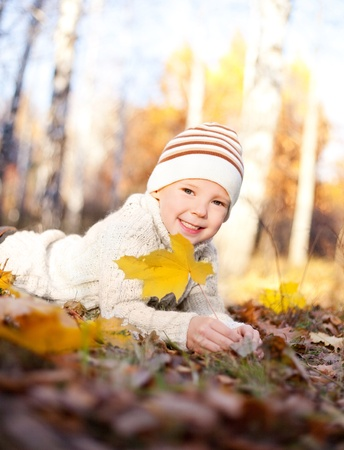 happy little boy spending time outdoor in autumn the park Stock Photo - 10255265
