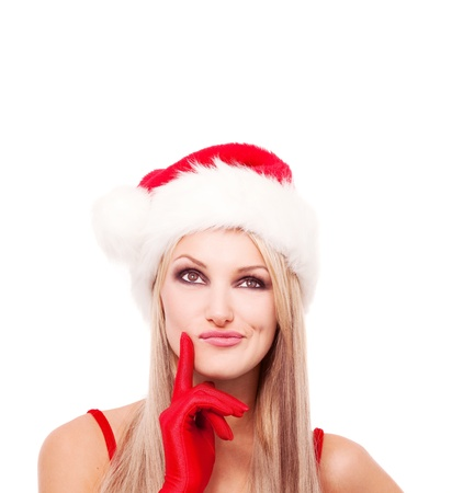 hesitations: thoughtful blond woman dressed as Santa,looking up, isolated against white background