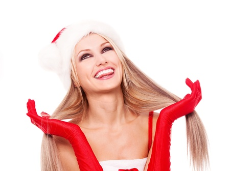 happy laughing blond woman dressed as Santa, isolated against white background Stock Photo - 10987368