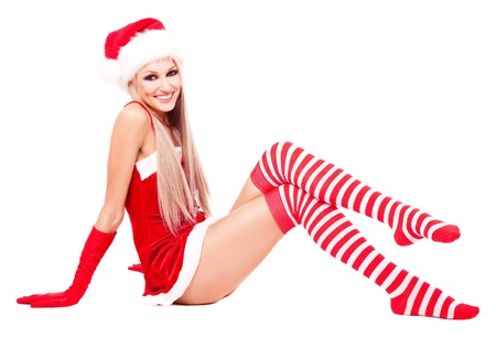 happy laughing blond woman dressed as Santa, isolated against white background Stock Photo - 10987212