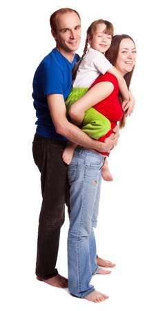 piggyback ride: happy young family; mother, father and their daughter isolated against white background (focus on the woman)
