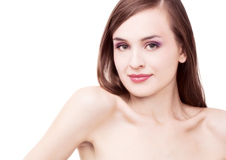 30 years old woman: portrait of a young beautiful brunette woman, isolated against white background