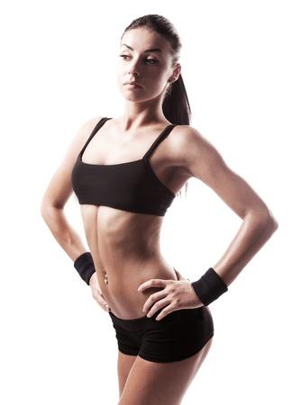 levantamiento de pesas: juventud, mujer, deportiva muscular, aislado contra el fondo blanco