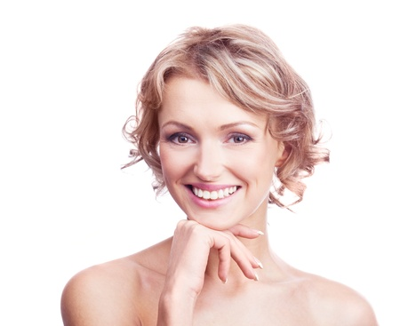 30 years old: pretty young blond woman with curly hair, isolated against white