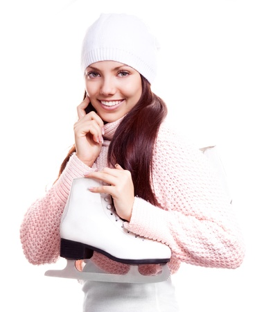 beautiful happy young woman going ice-skating, isolated against white background photo