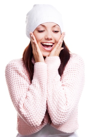 touch down: beautiful happy surprised young woman  looking down, isolated against white background Stock Photo