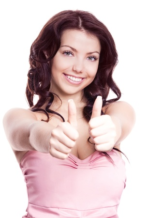 recommend: portrait of a young beautiful  woman  with two thumbs up, isolated against white background