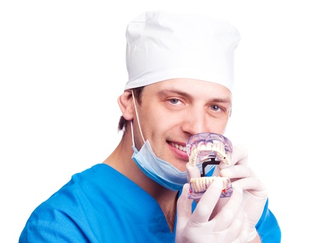 portrait of handsome young dentist  showing us an artificial jaw, isolated against white background photo