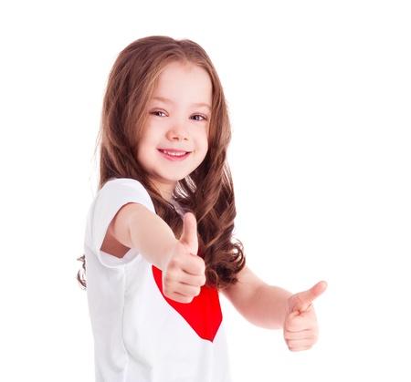old year: ragazza carina sei anni con due pollici in su, isolato su sfondo bianco