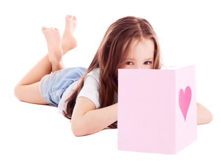 cute six year old girl  with a Valentine photo