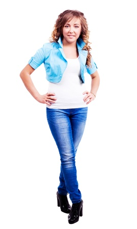 20 year old: attractive stylish twenty year old woman wearing jeans and a blue jacket, isolated against white background Stock Photo