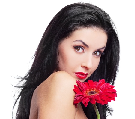 permanent: sexy young brunette woman with a red flower, isolated against white background