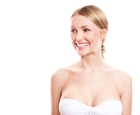 pretty young blond woman with beautiful big breast, looking to the side, copyspace for a text Stock Photo - 12713067