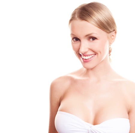 pretty young blond woman with beautiful  breast, copyspace for a text to the left Stock Photo - 12713074