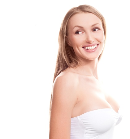 big breast woman: pretty young blond woman with beautiful big breast, looking to the side, copyspace for a text