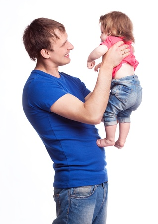 happy family; young father and his daughter isolated against white background photo