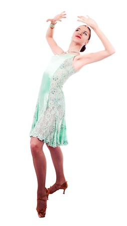 waltzing: beautiful dancer woman on a white isolated background