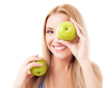 humorous portrait of a  young woman  holding two apples, isolated against white background Stock Photo - 13202252