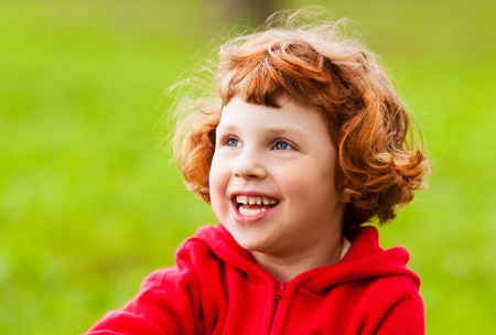 five years old: happy five year old girl outdoor on a summer day Stock Photo