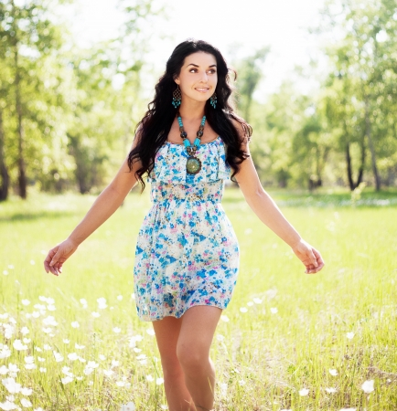 happy young  woman outdoor on a summer day Stock Photo - 14182598