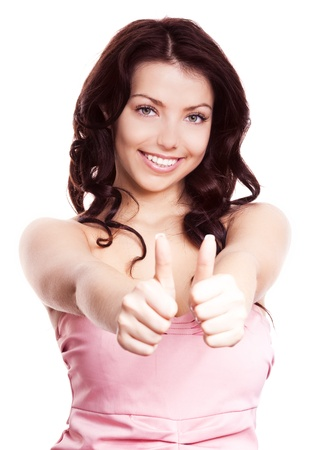 thumbs up woman: portrait of a young beautiful  woman  with two thumbs up, isolated against white background