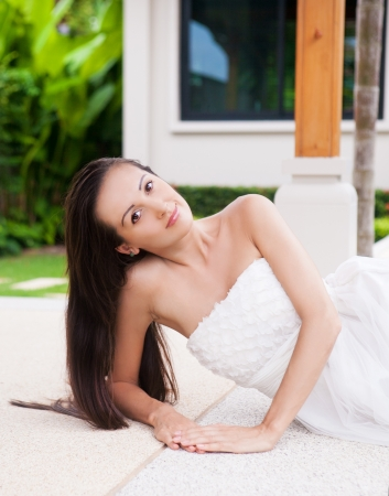 beautiful young brunette woman relaxing outdoor Stock Photo - 16987617
