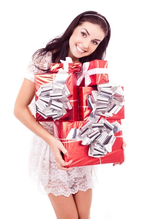 ger: beautiful young woman with a lot of gifts in her hands, isolated on white background Stock Photo