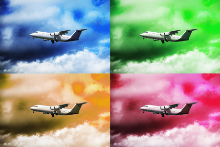 postponed: White plane in the sky with dark clouds, clouds of four different colours, collage Stock Photo