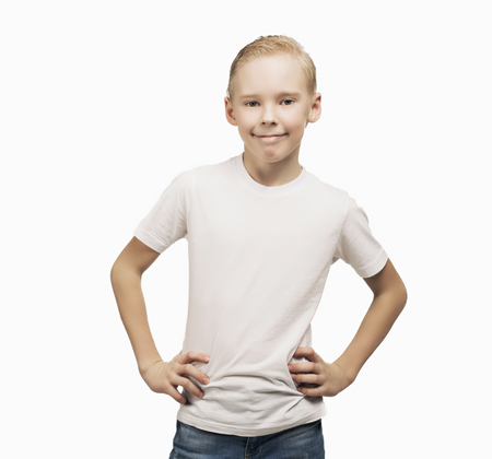 nine years old: happy smiling nine years old boy, isolated against white background